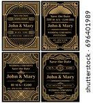 modern wedding invitation... | Shutterstock . vector #696401989