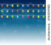 christmas light bulbs on starry ... | Shutterstock .eps vector #696404980
