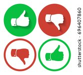 thumb up and down symbols....   Shutterstock . vector #696407860