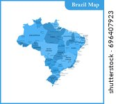 the detailed map of the brazil... | Shutterstock . vector #696407923