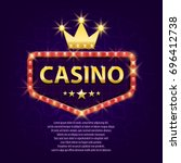 casino retro light sign with... | Shutterstock .eps vector #696412738