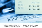 manufacturing date and expiry... | Shutterstock . vector #696414739