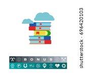 books pile icon | Shutterstock .eps vector #696420103