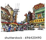 street market sketchbook style  ... | Shutterstock .eps vector #696420490