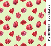 watercolor raspberry seamless...   Shutterstock . vector #696421633
