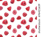watercolor raspberry seamless...   Shutterstock . vector #696421639