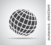 globe icon with shadow on a... | Shutterstock .eps vector #696425644