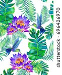 seamless pattern with humming... | Shutterstock . vector #696426970