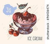 ice cream with a cherry and... | Shutterstock .eps vector #696436474