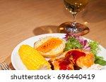 healthy delicious chicken... | Shutterstock . vector #696440419