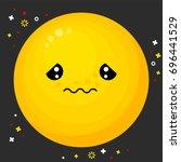 flat line emoji icon. emoticon... | Shutterstock .eps vector #696441529