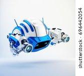 serious aerial cutan robotic... | Shutterstock . vector #696442054