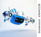 serious aerial cutan robotic... | Shutterstock . vector #696442138