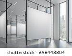 loft art gallery with blank... | Shutterstock . vector #696448804