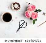 coffee  flowers and other small ... | Shutterstock . vector #696464338