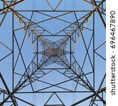 electricity pylon from directly ... | Shutterstock . vector #696467890