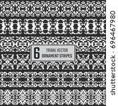 set of 6 vector tribal stripes. ... | Shutterstock .eps vector #696467980