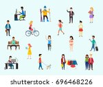 street style people ... | Shutterstock .eps vector #696468226