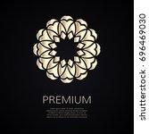 golden flower shape. gradient... | Shutterstock .eps vector #696469030