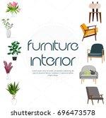 furniture for interior. modern... | Shutterstock .eps vector #696473578