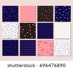 abstract memphis pattern with... | Shutterstock .eps vector #696476890