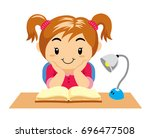 cute girl reading at night | Shutterstock .eps vector #696477508