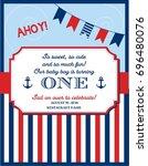 nautical sailor theme printable ... | Shutterstock .eps vector #696480076