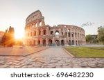 colosseum amphitheater in rome | Shutterstock . vector #696482230