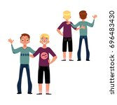 male friendship concept  couple ... | Shutterstock .eps vector #696483430