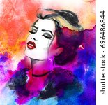 hand painted beauty fashion...   Shutterstock . vector #696486844