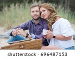 young family couple having... | Shutterstock . vector #696487153