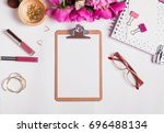 clipboard with blank paper ... | Shutterstock . vector #696488134