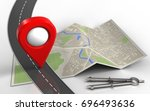 3d illustration of map paper... | Shutterstock . vector #696493636