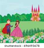 the princess and the prince in... | Shutterstock .eps vector #696493678