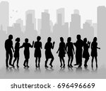 vector  silhouette of a crowd... | Shutterstock .eps vector #696496669