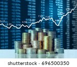 investment concept  coin graph... | Shutterstock . vector #696500350