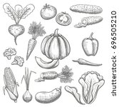 monochrome sketch style set of... | Shutterstock . vector #696505210