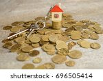 mortgage concept by money house ...   Shutterstock . vector #696505414