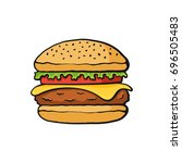 vector illustration. hamburger... | Shutterstock .eps vector #696505483