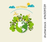 eco friendly. ecology concept... | Shutterstock .eps vector #696509539