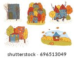 autumn scene with a house and... | Shutterstock .eps vector #696513049