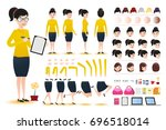 woman clerk wearing skirt... | Shutterstock .eps vector #696518014