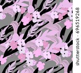 cute seamless floral pattern... | Shutterstock .eps vector #696519268