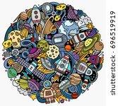 cartoon vector doodles space... | Shutterstock .eps vector #696519919