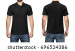 men in blank black polo shirt ... | Shutterstock . vector #696524386