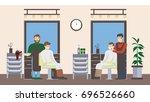 barbershop salon inside. male... | Shutterstock . vector #696526660