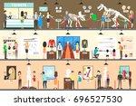 museum interior set. people... | Shutterstock . vector #696527530