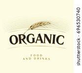 golden single wheat ear with... | Shutterstock .eps vector #696530740