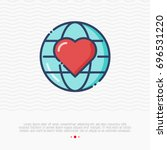 globe with heart thin line icon....   Shutterstock .eps vector #696531220