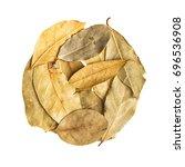 dry leaves on white background...   Shutterstock . vector #696536908